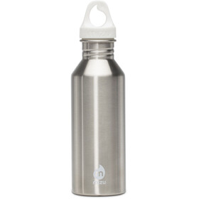 MIZU M5 Bottle with White Print & White Loop Cap 500ml silver